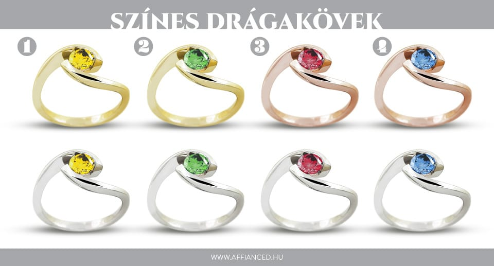 Eljegyzési gyűrűk - színes drágakővel
