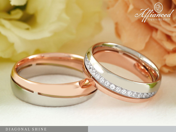 Diagonal Shine - karikagyűrű pár