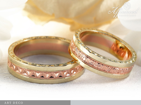Art Deco - karikagyűrű pár
