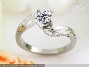 Princess Barokk no2 Diamond – eljegyzési gyűrű