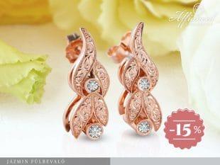 Jázmin - arany fülbevaló gyémánttal