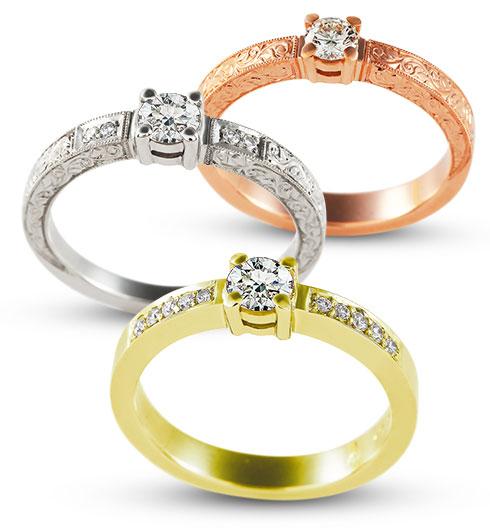 Eljegyzési gyűrű arany színek