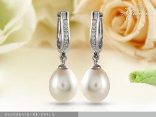 Raindrops - arany, gyémánt, gyöngy fülbevaló